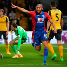 Back of the net: Andros Townsend wheels away in celebration after opening the scoring