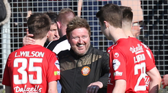 Bright future: Portadown boss Niall Currie congratulates some of his young players after the crucial win over Carrick at Shamrock Park, including scorer Luke Wilson (left). Photo: David Maginnis/Pacemaker