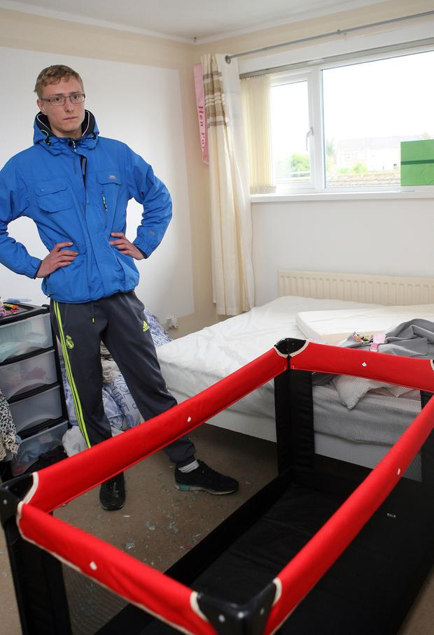 Patryk Grzechnik in his daughter's bedroom. Pic Freddie Parkinson PressEye