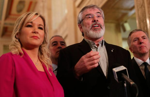 Sinn Fein leader Gerry Adams, alongside Sinn Fein leader for Northern Ireland Michelle O'Neill, speaking to the media in the Great Hall, Stormont. PA