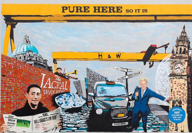 Mural unveiled by boxer Carl Frampton celebrating his exploits in the ring and other famous products of Belfast. PA