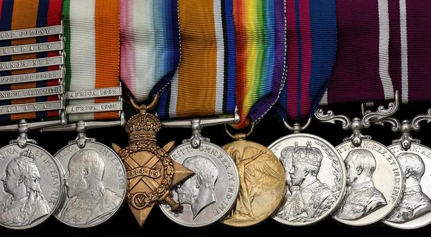 Sergeant-Major Francis James Joyce's medals which fetched nearly £2,000 in an auction