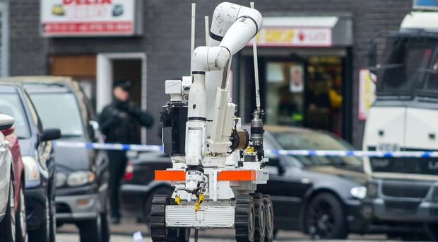 Police at the scene of a security alert in the Pacific Avenue area of north Belfast following the discovery of a suspicious object on April 13th 2017 (Photo - Kevin Scott / Belfast Telegraph)