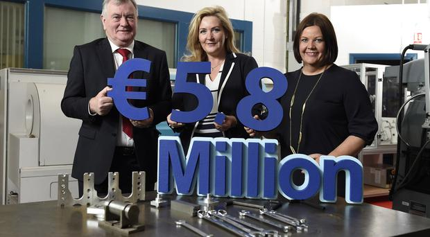 Pictured (l-r) are director and chief executive of South West College Malachy McAleer, CEO of the Special EU Programmes Body (SEUPB) Gina McIntyre, and Jill Cush Head of Innovation and Business Development for South West College. Picture: Michael Cooper