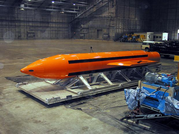 A Massive Ordnance Air Blast also known as the Mother of All Bombs (MOAB). The MOAB is a precision-guided munition weighing 21,500 pounds. Image: United States Department of Defence