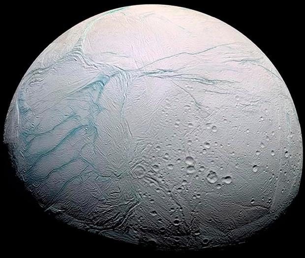 Handout photo of one of Saturn's moons, Enceladus. Life could exist on Enceladus around hydrothermal vents similar to those found at the bottom of Earth's oceans, scientists believe. PA