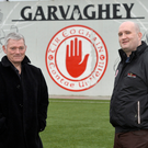 Sweet home: GAA volunteers Mark Conway and Eunan Lindsay at Tyrone GAA headquarters in Garvaghey where funding has been used to enhance the training facility