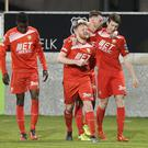 Portadown's Ross Larkin celebrates his goal during tonight's game at Shamrock Park, Portadown. Photo by David Maginnis/Pacemaker Press