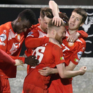 Striking it hot: Ross Larkin celebrates his winner for Portadown against Ballinamallard United at Shamrock Park