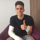 Recovering: Marc Bartra in hospital yesterday