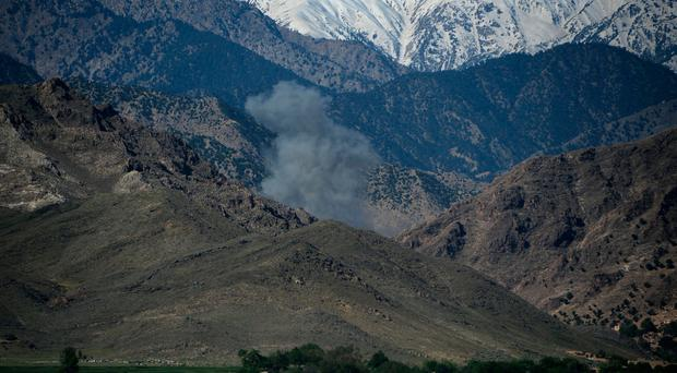 The massive ordnance air blast bomb striking IS cave and tunnel systems in the Achin district of the Nangarhar Province in eastern Afghanistan, near the border with Pakistan