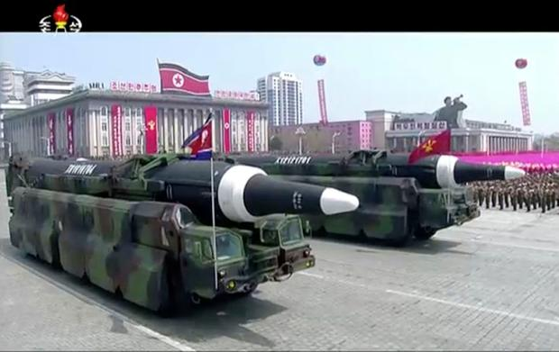 In this image made from video provided by North Korean broadcaster KRT, missiles are paraded at Kim Il Sung Square in Pyongyang, Saturday, April 15, 2017. (KRT via AP)