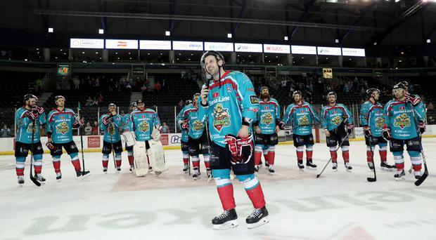 Belfast Giants' Derrick Walser speaks to their fans after Saturday nights final home game of the season and home leg of the Elite Ice Hockey League Playoff Quarter Final against the Fife Flyers at the SSE Arena, Belfast. Presseye