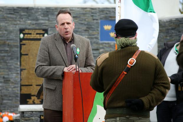 Des Dalton, President of Republican Sinn Féin and Irish Republicans take part in a traditional Easter commemoration parade in Lurgan, County Armagh, organised by Republic Sinn Fein. They attended the Garden of Remembrance in the Kilwilkee estate before a wreath-laying ceremony at the republican plot at nearby Saint Colman's Cemetery. Photo by Kelvin Boyes / Press Eye.