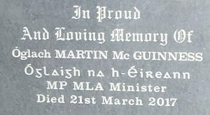 Newly erected gravestone of Martin McGuinness