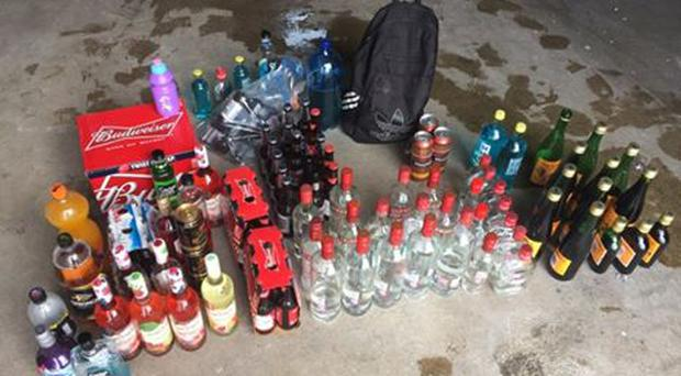 Alcohol seized by police in Bangor: Pic: PSNI