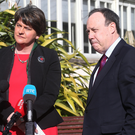 Former First Minister and DUP leader Arlene Foster, with DUP deputy leader Nigel Dodds MP at Stormont before the talks broke before Easter