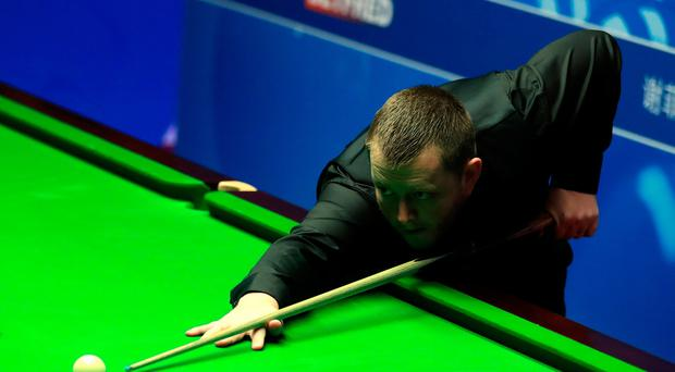 Mark Allen during his match against Jimmy Robertson on day three of the Betfred Snooker World Championships at the Crucible Theatre, Sheffield. PA