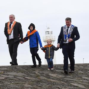From L-R Sammy Wilson, Charlie Wilson, Carson Bradshaw and Stuart Bradshaw during The Junior Orange Association of Ireland annual Easter Tuesday demonstration in Donaghadee.
