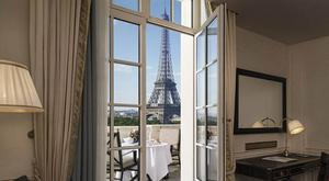Room with a view: The Eiffel Tower seems within touching distance.