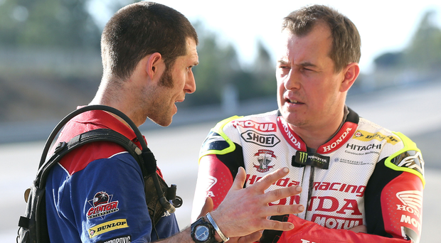 Getting to grips: Guy Martin and John McGuinness during testing. Photo: Stephen Davison.Pacemaker