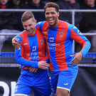 Pick it out: David McAllister (left) with Guillaume Keke after scoring for Ards in the victory over Portadown last night. Photo: David Maginnis/Pacemaker