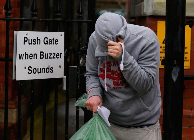 Ryan Eastwood leaving Limavady Magistrates' Court, near Londonderry, where he appeared accused of causing a person to engage in sexual activity without consent and other offences.