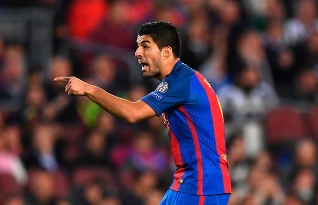 BARCELONA, SPAIN - APRIL 19: Luis Suarez of Barcelona reacts during the UEFA Champions League Quarter Final second leg match between FC Barcelona and Juventus at Camp Nou on April 19, 2017 in Barcelona, Spain. (Photo by Shaun Botterill/Getty Images)