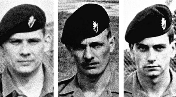 Clockwise from top left: Private Steven Smart, Lance Corporal John Bradley and Private John Birch who were killed alongside Lance Corporal Michael Adams in an IRA attack in 1990