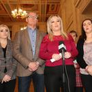 Sinn Féin's Michelle O'Neill speaks to the press following her meeting with Secretary of State, Rt Hon James Brokenshire MP. Press Eye - Parliament Buildings - Stormont - Sinn Féin Press Conference - 20th April 2017 Photograph by Declan roughan