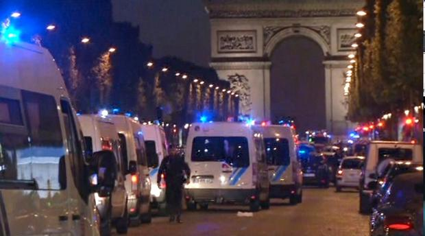 In this image made from video, police attend the scene after an incident on the Champs-Elysees in Paris, Thursday April 20, 2017. (AP Photo)