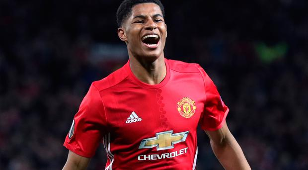 Rash of delight: Marcus Rashford celebrates his Old Trafford winner
