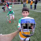 Syrian refugee Muhammad Al Haj Kadour who plays hurling for Michael Davitts GAA club under-10s pictured training in west Belfast. Photo by Kelvin Boyes / Press Eye.