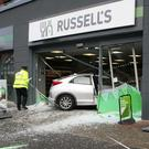 A car crashed into a shop window on Belfast's Lisburn Road. April 2017