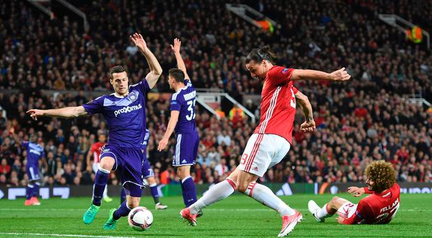 Manchester United's Swedish striker Zlatan Ibrahimovic shoots and his shot is saved during the UEFA Europa League quarter-final second leg football match between Manchester United and Anderlecht. Pic Getty