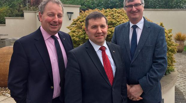 Danny Kinahan, Robin Swann and Tom Elliott after UUP party executive meeting in east Belfast. Pic David Young/PA Wire