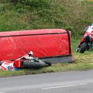 Guy Martin crashes out of his comeback race at the Tandragee 100 on Saturday. Pic Harry McClements/Pacemaker