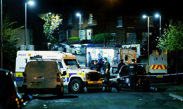Police and ATO at the scene of an overnight security alert in the Herbert Street area of Ardoyne following the discovery of a suspicious object on April 23rd 2017 (Photo - Kevin Scott / Belfast Telegraph)