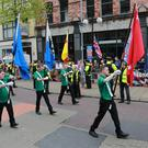 A Republican parade lead by Aontacht makes its way through Belfast City Centre. on April 23rd 2017 (Photo - Kevin Scott / Belfast Telegraph)