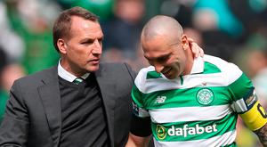 Scott Brown of Celtic and Celtic Manager Brendan Rodgers are seen during the William Hill Scottish Cup semi-final match between Celtic and Rangers at Hampden Park on April 23, 2017 in Glasgow, Scotland. (Photo by Ian MacNicol/Getty Images)