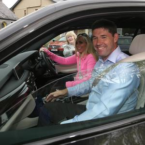 Padraig Harrington and his wife Caroline leave Ashford Castle after attending the Rory McIlroy and Erica Stoll wedding. Picture credit; Damien Eagers 23/4/2017
