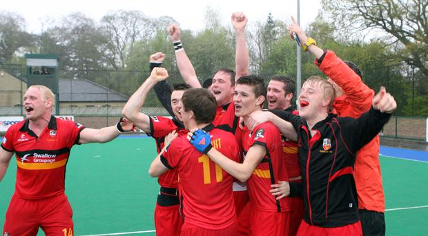 Champions: Banbridge players celebrate winning the EY Irish Hockey League title on Saturday