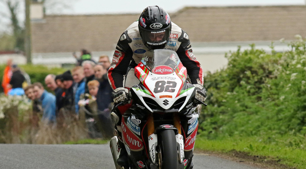 Speed king: Derek Shiels over Cabragh Jump on his way to victory in the Open Superbike race at the Tandragee 100