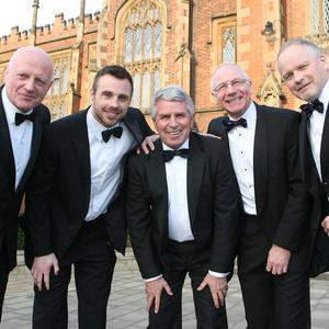 Class acts: former Queen's Lions (from left) Phillip Matthews, Tommy Bowe, Dick Milliken, Nigel Carr and Trevor Ringland outside their old university