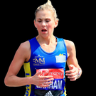 In her stride: Laura Graham competing in London yesterday