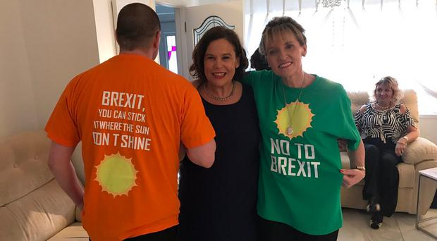 SF's Mary Lou McDonald and Martina Anderson with anti-Brexit T-shirts