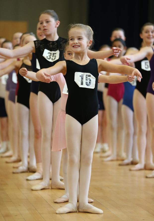 Kids preform for The English Youth Ballet in Belfast as they are looking for 100 dancers for Swan Lake. Matt Mackey Presseye