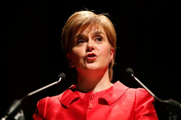 SNP leader Nicola Sturgeon speaks at the STUC conference in Aviemore. PA