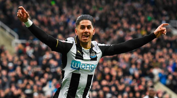Ayoze Perez of Newcastle United celebrates as he scores their first goal during the Sky Bet Championship match between Newcastle United and Preston North End at St James' Park on April 24, 2017 in Newcastle upon Tyne, England. (Photo by Stu Forster/Getty Images)