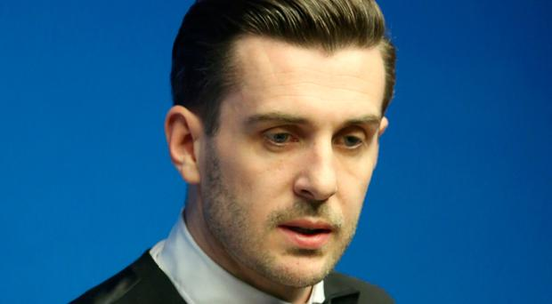 Mark Selby during his match against Xiao Guodong on day Ten of the Betfred Snooker World Championships. Photo: Tim Goode/PA